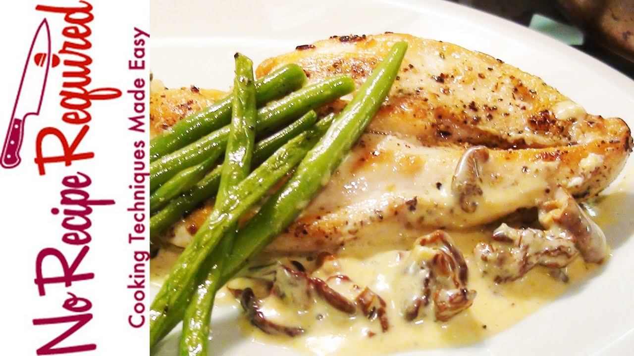 Chicken Breast with Mushroom Cream Sauce - NoRecipeRequired.com ...