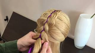 Пятипрядная коса с двумя лентами!