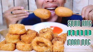Asmr eating  squid rings and corn dog  , crunchy eating sound |binh asmr