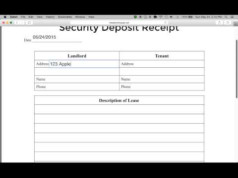 How to Write a Security Deposit Receipt Form | PDF | Word
