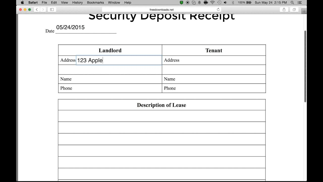Rental Deposit Form | How To Write A Security Deposit Receipt Form Pdf Word Youtube