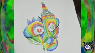 Psychedelic Art Tutorial - Colored Pencil Monkey