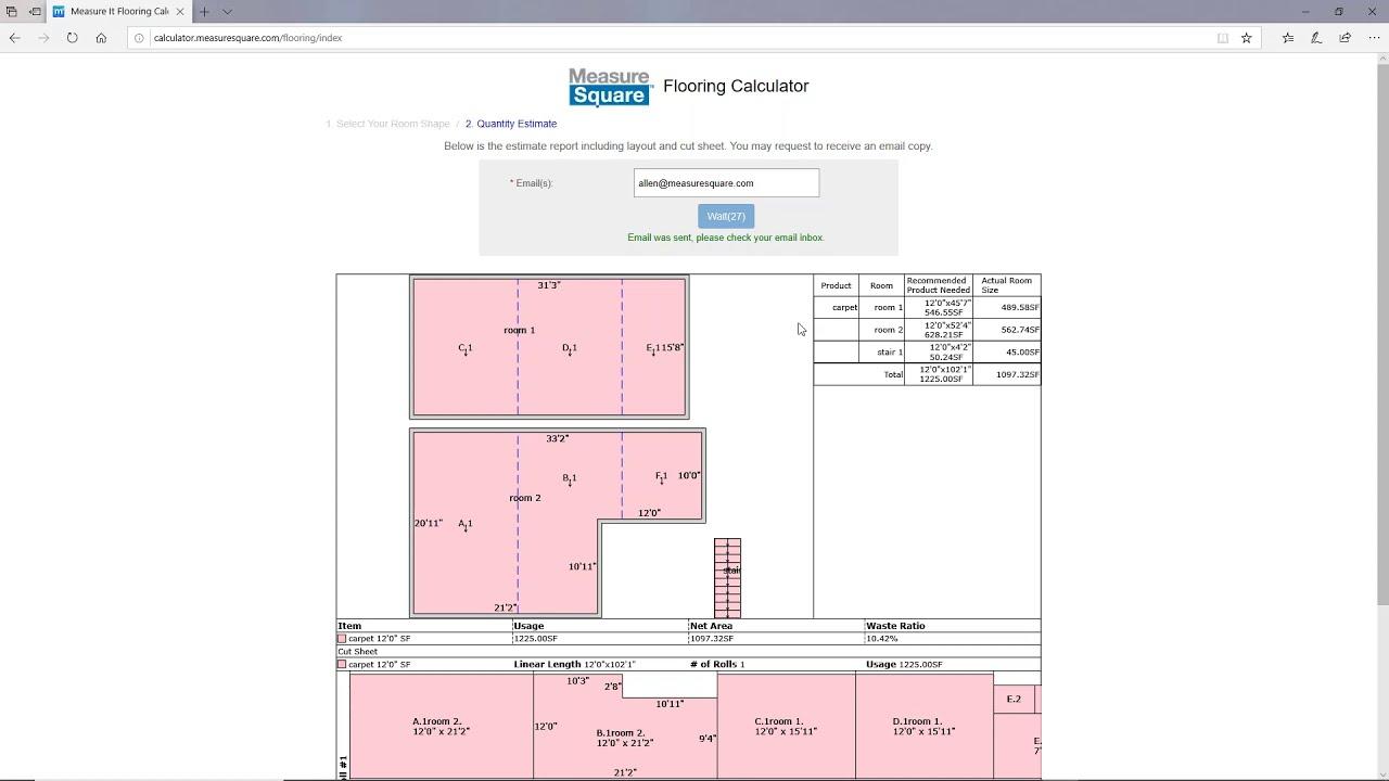 Measuresquare Web Flooring Calculator, Laminate Flooring Calculator