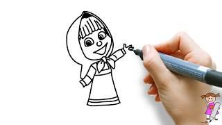 怎样画玛莎和熊中的玛莎(简笔画) How to draw Masha cute  - Masha and be