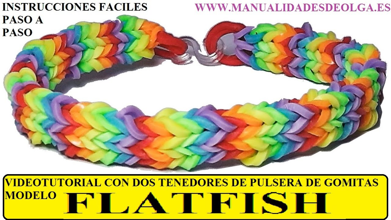 COMO HACER PULSERA DE GOMITAS FLATFISH O QUADFISH PLANA CON 2
