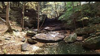Cover images Honey Run Waterfall in Howard, Ohio - Fall Colors Flying Over Bridge 10 22 2019