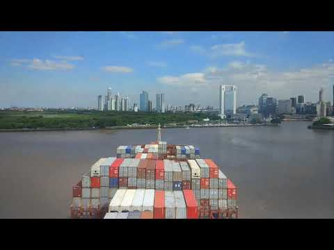Timelapse | Port Approach by a Container Ship | Buenos Aires - Argentina