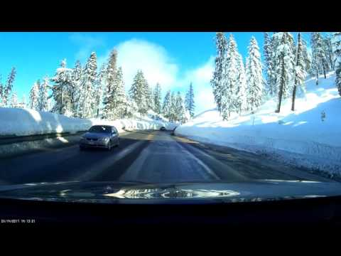 Drive from S. Lake Tahoe through Sierra Nevada winter 2017 in Polish