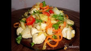 Куриное филе тушеное с пекинской капустой Диетические блюда