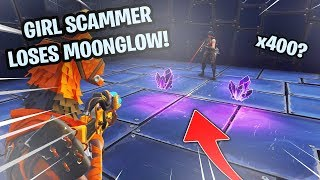Girl Scammer Loses 400 Moonglow! (Scammer Gets Scammed) Fortnite Save The World