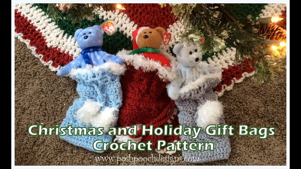 Christmas and Holiday Gift Bags Crochet Pattern - YouTube