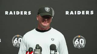 """Jon Gruden During The Bye Week: """"There's Not Time To Rest"""" And Trent Brown Is Nursing A Calf Injury"""