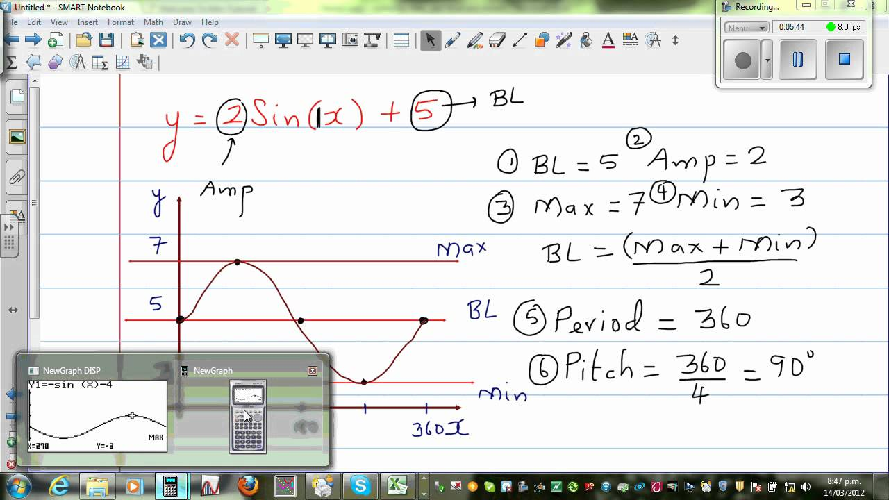 Graphing y = 2 Sin (x) +5 and y = - 3 Sin (x) -2 - YouTube