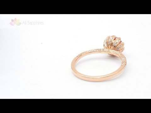 Lotus Rose Gold & Peach Sapphire Engagement Ring With Diamonds