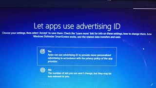 Windows 10 October 2018 update Privacy settings Advertising ID question at upgrade