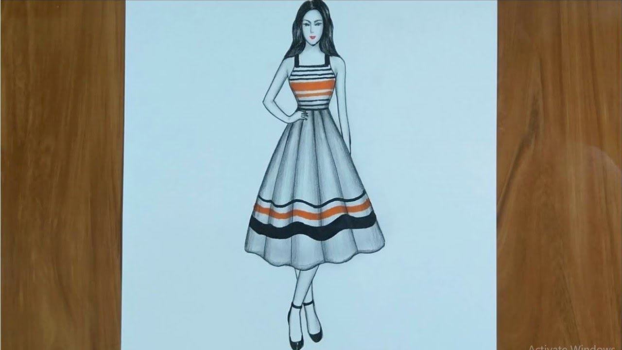 Dress Drawing On A Girl Fashion Illustration Drawing Step By Step Youtube