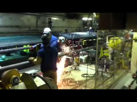 Offshore pipeline welding.Roberto the cabin cleaner running the bead during his lunch break.