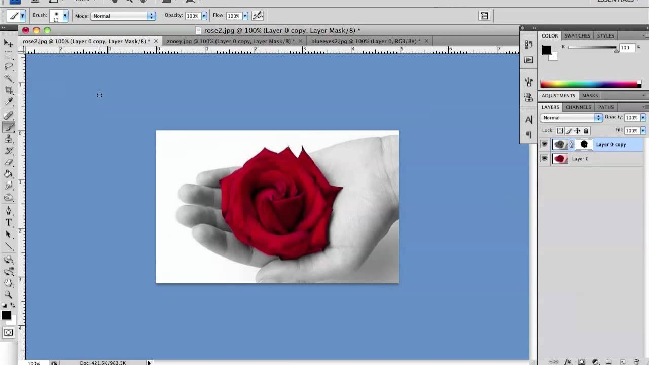 Photoshop color isolation change one object in black and white photo to color sin city effect