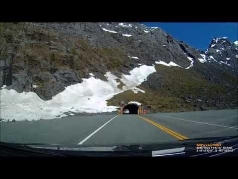 Driving through the Homer Tunnel to Milford Sound