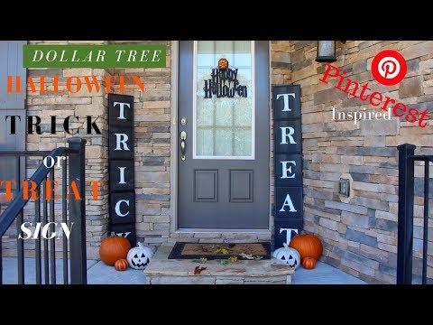 Dollar Tree DIY Halloween Decor | DIY Trick or Treat Sign | Pinterest Inspired Halloween Decor