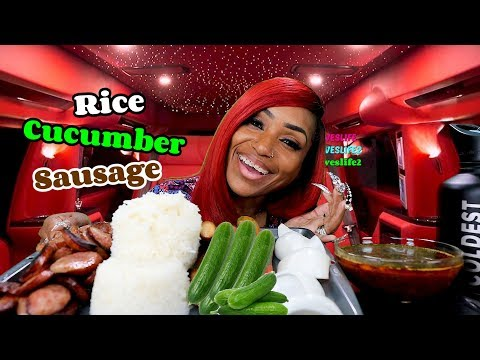 Cucumber, Rice And Sausage Mukbang & No Utensil Shoutouts