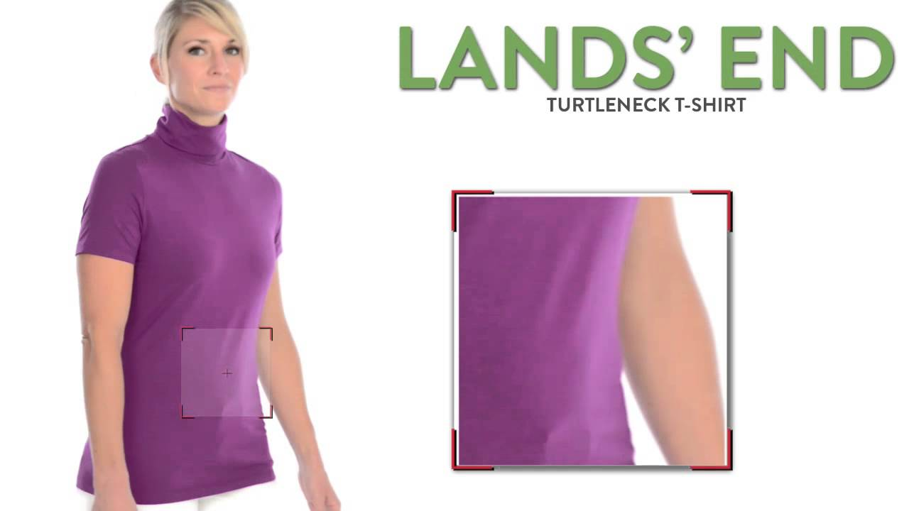 Lands end turtleneck t shirt jersey knit short sleeve for Turtleneck under t shirt