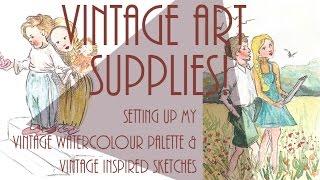 Vintage art supplies haul & watercolour palette setup/sketches!