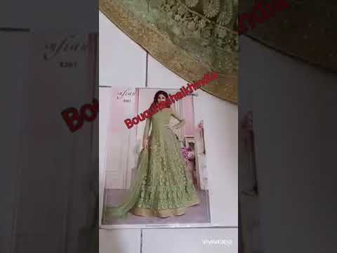 Light Green Color Anarkali Baju India Customer Order Indoneisa