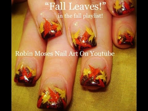 Easy Fall Leaf Nail Art | DIY Autumn Leaves Thanksgiving Nails Tutorial - Easy Fall Leaf Nail Art DIY Autumn Leaves Thanksgiving Nails