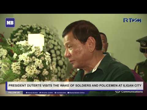 President Duterte visits the wake of soldiers and policemen at Iligan City
