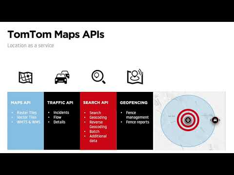 Intro To TomTom Maps APIs: Maps;Traffic; Search; Routing; Geofencing