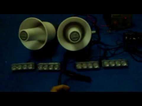 SET OF SIREN & LED FLASH STROBE LIGHT  FOR MARSHALL, TRAFFIC, JPAM, RELA