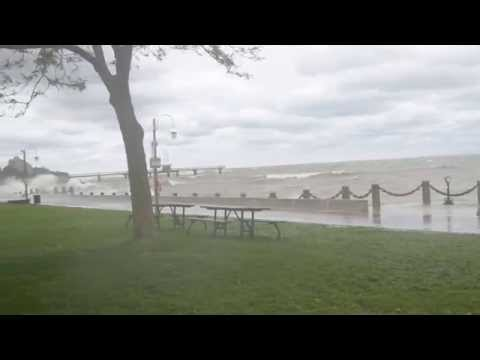 Burlington , Ontario Spencer Smith Park Waterfront High Winds & Waves Oct 3, 2015