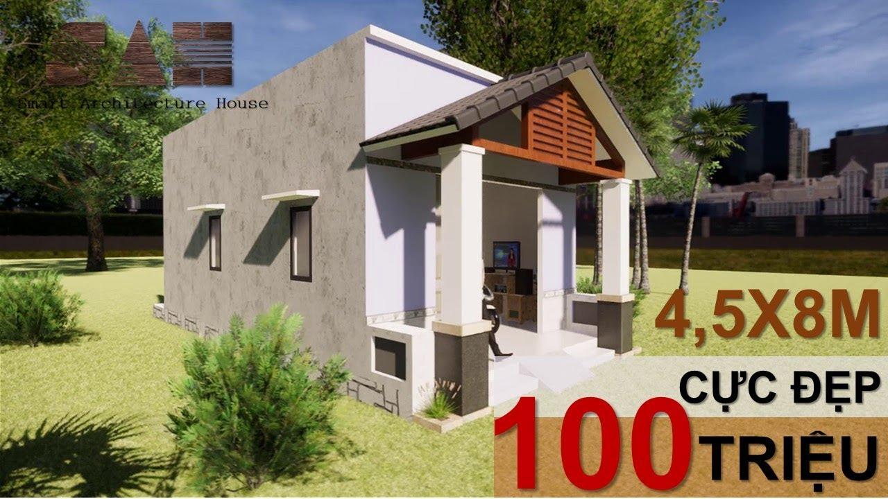 NHÀ CẤP 4 Dưới 100 triệu [ 4,5x8m ] – Thiết kế nhà cấp 4 Đơn giản rẻ nhất |#SAH