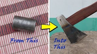 Turning A Solid Gudgeon Pin Into An Axe: របៀបធ្វើពូថៅពីអ័ក្សយ៉េនម៉ូតូ