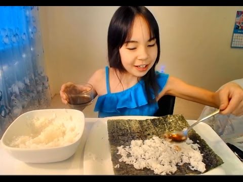 DRIED SEAWEED.RICE. ASMR MUKBANG(eating show)海草. Kimbap.yaki nori.김. 밥. 초딩 먹방 #7