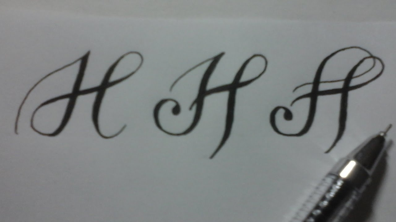 Calligraphy Letter H With Normal Pen