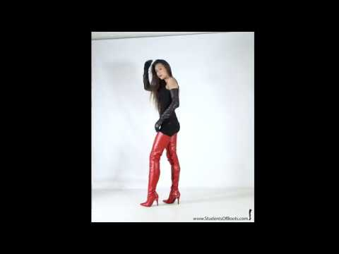 Lynn in red leather Boots and black leather opera Gloves Trailer