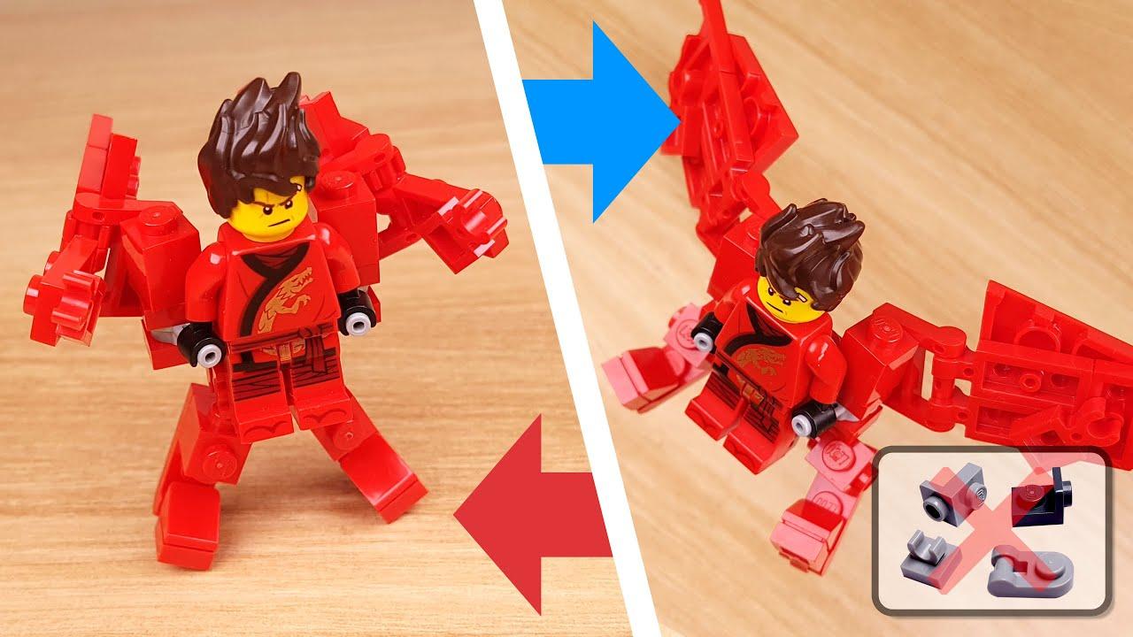How to build LEGO brick micro transformer mech - Ninja wing suit mini version