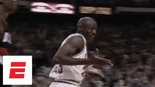 Michael Jordan shrugs after making six 3's in first half of 1992 Finals Game 1 | ESPN Archives