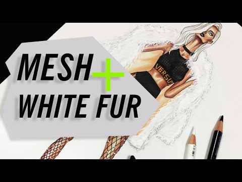 NET/MESH+MONGOLIAN LAMB FAUX FUR COAT | Fashion Drawing