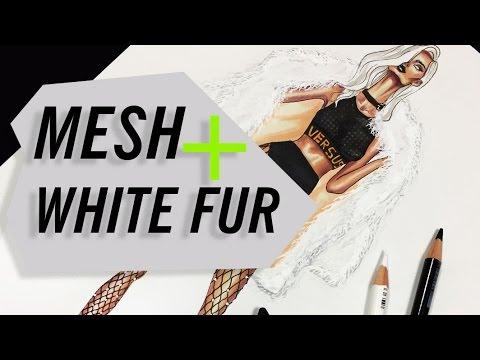 NET/MESH+MONGOLIAN LAMB FAUX FUR COAT | Fashion Drawing