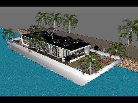 Z houseboat in Zimbabwe Kariba Houseboats Luxury residential floating on an eco barge design