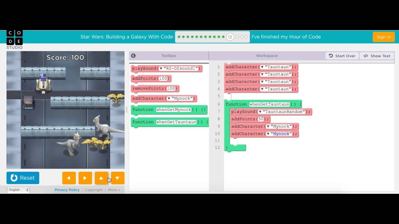 Code org Hour Of Code Part 2 | Star Wars Coding