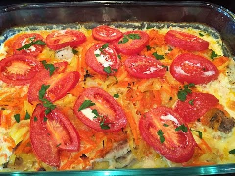 ФИЛЕ ТИЛАПИИ ( любой рыбы)  запеченное в сливках , с овощами.  Tilapia fillet (any fish) baked .