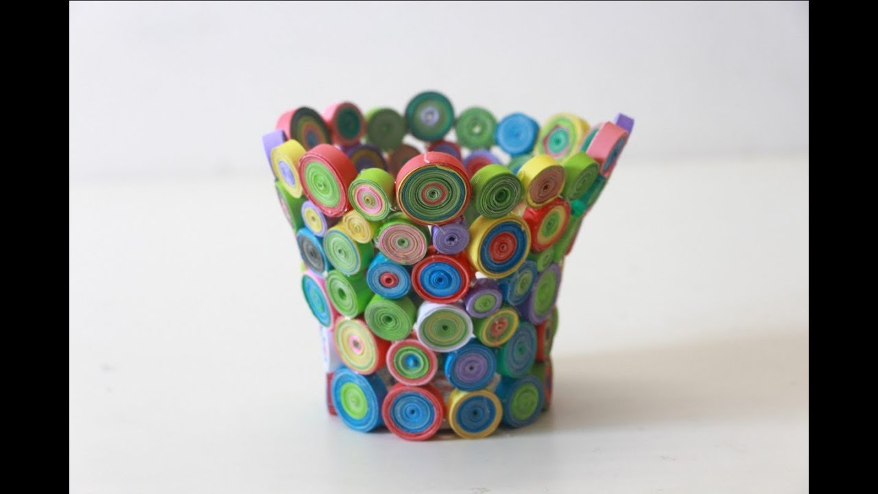 recycled paper crafts ideas make colorful flower vase with paper useful paper crafts 5319