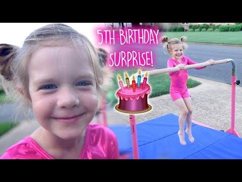 💕5th BIRTHDAY SURPRISE!💕 SHE HAD NO IDEA!! Tumbl Trak Gymnastics Bar Jr Kip Bar Pro