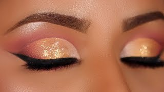 Soft Gold Glitter Cut Crease Makeup Tutorial (Hooded Eyes)