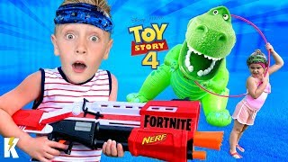 Kids Run the Toy Story 4 / NERF FORTNITE Mashup OBBY & Gear Test | KIDCITY