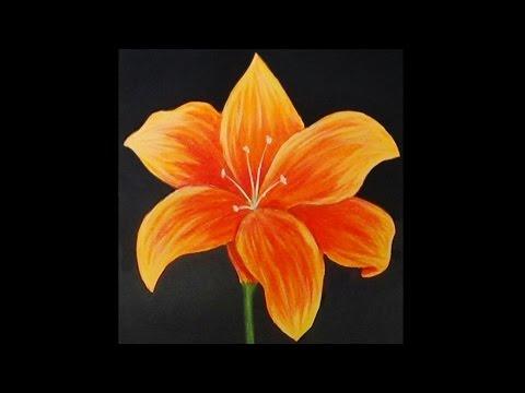 Orange Lily Acrylic Painting YouTube